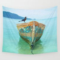 kevin russ Wall Tapestries featuring BOATI-FUL by Catspaws