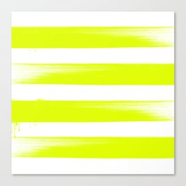Japanese calligraphy stroke stripe -Zen style, Yellow Green and white Canvas Print