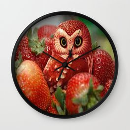Owl_Strawberry Wall Clock