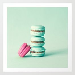 tower of mint macarons, macaroons, over green mint Art Print