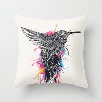 hummingbird Throw Pillows featuring HummingBird by efan