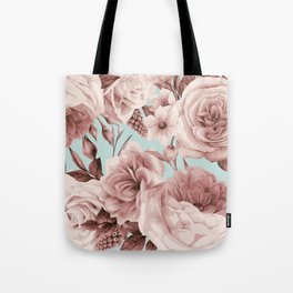 SEPIA ROSES ON GREEN Tote Bag