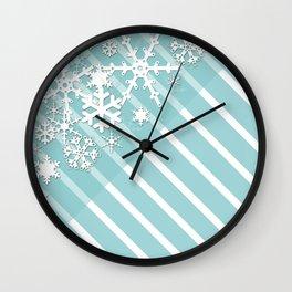 Winter . Paper snowflakes. Wall Clock