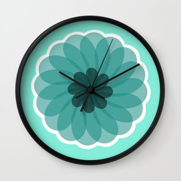 turquoise blue geometrical flower Wall Clock