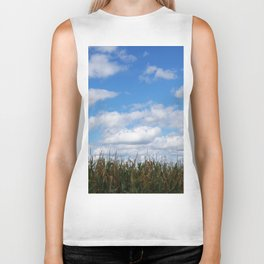 "Corn field in autumn with ""popcorn"" clouds Biker Tank"