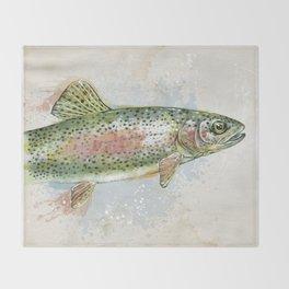 Splashing Rainbow Trout Throw Blanket