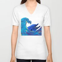 hokusai V-neck T-shirts featuring Hokusai Rainbow & Dolphin by FACTORIE