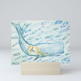 Jonah and the whale surrounded by many fishes Mini Art Print