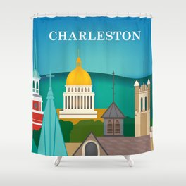 Charleston, West Virginia - Skyline Illustration by Loose Petals Shower Curtain