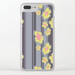 Striped Hibiscus Print Clear iPhone Case
