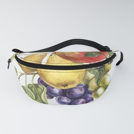 Composition of realistic fruits on a white background in vintage style. Pear, apple, plum, blackberr Fanny Pack
