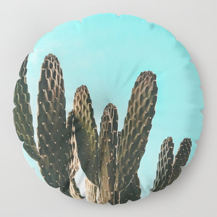 Cactus Photography Print {1 of 3} | Teal Succulent Plant Nature Western Desert Plants  Design Decor Floor Pillow