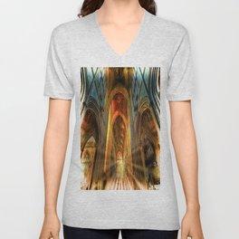 Bath Abbey Sun Rays Art Unisex V-Neck