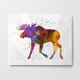 Moose 02 in watercolor Metal Print