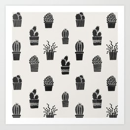 Southwestern Stamped Potted Cactus + Succulents Art Print