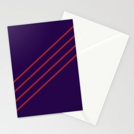 Purple and Red Angled 4 Stripe Pattern 2021 Color of the Year Satin Paprika and Purple Stationery Cards
