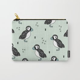 Cute Icelandic Puffin birds mint pattern Carry-All Pouch