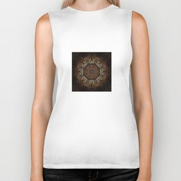 Rich Brown and Gold Textured Mandala Art Biker Tank