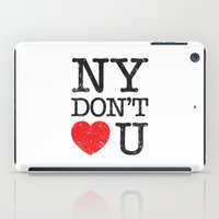 stickers iPad Cases featuring New York, New York by Text Guy