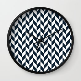 Dark Navy Blue Herringbone Pattern Wall Clock