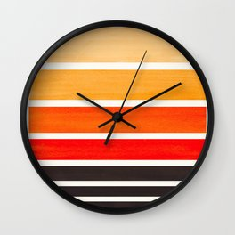 Orange Minimalist Watercolor Mid Century Staggered Stripes Rothko Color Block Geometric Art Wall Clock