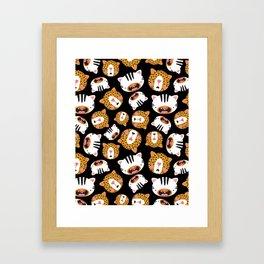 Happy Jungle Kitties (Black) Framed Art Print