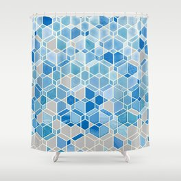 Cubes & Diamonds in Blue & Grey  Shower Curtain