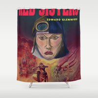"""book cover Shower Curtains featuring """"Red Sisters"""" Book Cover by 7 Hells: Retro Horror art of Bill Rude"""