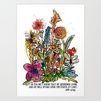 scripture Art Prints featuring Floral Watercolor with Scripture by Megan Schreurs