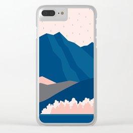 Mt Cook New Zealand Geometric Mountain Art Clear iPhone Case