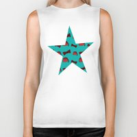 fez Biker Tanks featuring Red Fez & Bow Tie (on teal green) by Bohemian Bear by Kristi Duggins