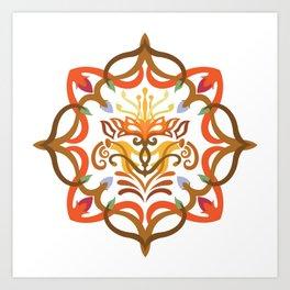 Vector Pattern Flowers Mandala Art Print