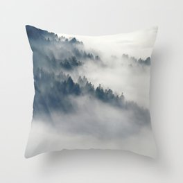 Mountain Fog and Forest Photo Throw Pillow