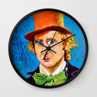 willy wonka Wall Clocks featuring Wonka by Jordan Soliz