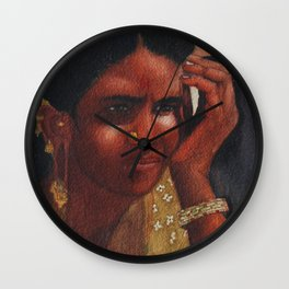 Thinking Deep, Indian Women - in Watercolor Wall Clock