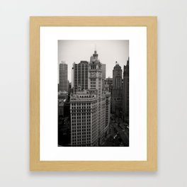 Wrigley Building Chicago Black and White Photo Framed Art Print