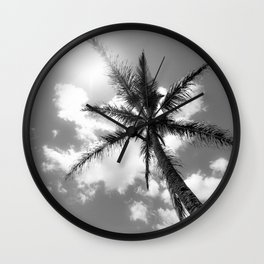 Tropical Palm Trees Black and White Wall Clock