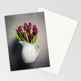 Levitating purple tulips against old concrete background Stationery Cards