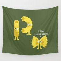 party Wall Tapestries featuring Pasta Party by David Olenick