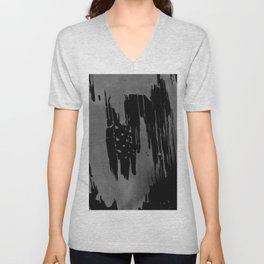 Modern black gray hand painted watercolor pattern Unisex V-Neck