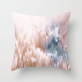 Etherial light in blush and blue - Glitch art Throw Pillow