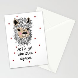 alpaca girl Llama Love Present Gift Stationery Cards