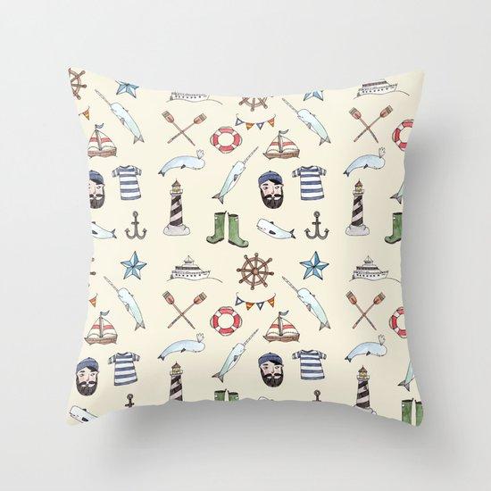 Nautical Pattern Throw Pillow