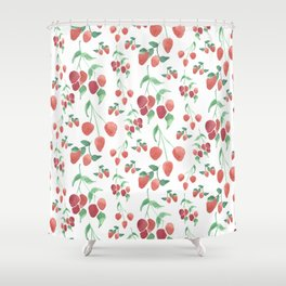 Watercolor Strawberries Shower Curtain