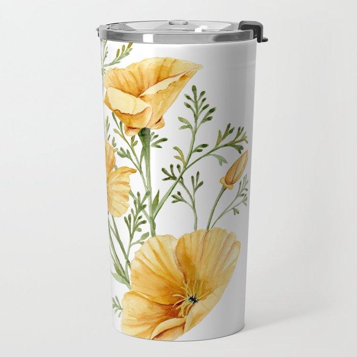California Poppies - Watercolor Painting Travel Mug