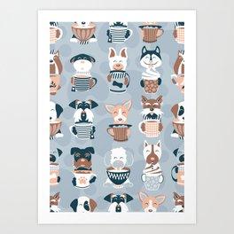 Doggie Coffee and Tea Time I // blue grey Art Print