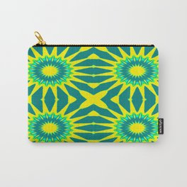 Green & Yellow Pinwheel Flowers Carry-All Pouch