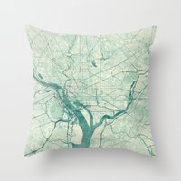 washington Throw Pillows featuring Washington Map Blue Vintage by City Art Posters