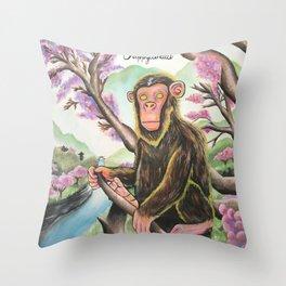 Saru Warrior Throw Pillow