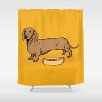hot dog Shower Curtains featuring Hot Dog by Whale Paws